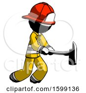 Ink Firefighter Fireman Man With Ax Hitting Striking Or Chopping