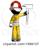 Ink Firefighter Fireman Man Holding Up Red Firefighters Ax