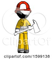 Ink Firefighter Fireman Man Holding Red Fire Fighters Ax