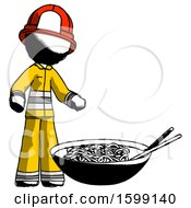 Ink Firefighter Fireman Man And Noodle Bowl Giant Soup Restaraunt Concept