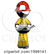 Ink Firefighter Fireman Man Serving Or Presenting Noodles