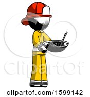 Ink Firefighter Fireman Man Holding Noodles Offering To Viewer