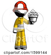 Ink Firefighter Fireman Man Presenting Pink Cupcake To Viewer