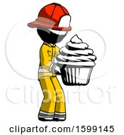 Ink Firefighter Fireman Man Holding Large Cupcake Ready To Eat Or Serve