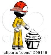 Ink Firefighter Fireman Man With Giant Cupcake Dessert