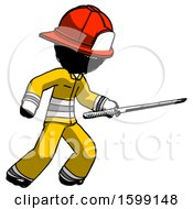 Ink Firefighter Fireman Man Stabbing With Ninja Sword Katana