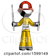 Ink Firefighter Fireman Man Posing With Two Ninja Sword Katanas Up