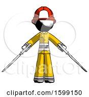 Ink Firefighter Fireman Man Posing With Two Ninja Sword Katanas