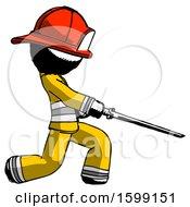 Ink Firefighter Fireman Man With Ninja Sword Katana Slicing Or Striking Something