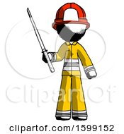 Ink Firefighter Fireman Man Standing Up With Ninja Sword Katana
