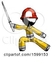 Ink Firefighter Fireman Man With Ninja Sword Katana In Defense Pose