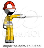 Ink Firefighter Fireman Man Standing With Ninja Sword Katana Pointing Right