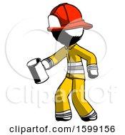 Ink Firefighter Fireman Man Begger Holding Can Begging Or Asking For Charity Facing Left