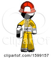 Ink Firefighter Fireman Man Begger Holding Can Begging Or Asking For Charity