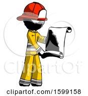 Ink Firefighter Fireman Man Holding Blueprints Or Scroll