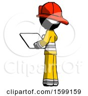 Ink Firefighter Fireman Man Looking At Tablet Device Computer With Back To Viewer