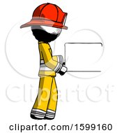 Ink Firefighter Fireman Man Show Tablet Device Computer To Viewer Blank Area