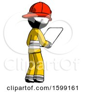 Ink Firefighter Fireman Man Looking At Tablet Device Computer Facing Away