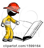 Poster, Art Print Of Ink Firefighter Fireman Man Reading Big Book While Standing Beside It