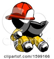 Poster, Art Print Of Ink Firefighter Fireman Man Reading Book While Sitting Down