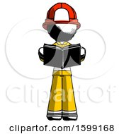 Poster, Art Print Of Ink Firefighter Fireman Man Reading Book While Standing Up Facing Viewer