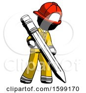 Ink Firefighter Fireman Man Writing With Large Pencil