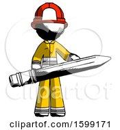 Ink Firefighter Fireman Man Writer Or Blogger Holding Large Pencil