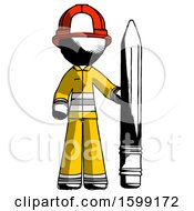 Ink Firefighter Fireman Man With Large Pencil Standing Ready To Write