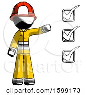 Ink Firefighter Fireman Man Standing By List Of Checkmarks