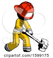 Ink Firefighter Fireman Man Hitting With Sledgehammer Or Smashing Something At Angle