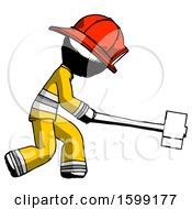 Ink Firefighter Fireman Man Hitting With Sledgehammer Or Smashing Something