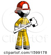 Ink Firefighter Fireman Man With Sledgehammer Standing Ready To Work Or Defend