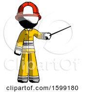 Ink Firefighter Fireman Man Teacher Or Conductor With Stick Or Baton Directing