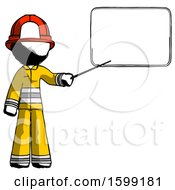 Ink Firefighter Fireman Man Giving Presentation In Front Of Dry Erase Board