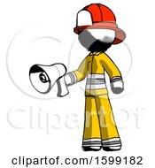 Ink Firefighter Fireman Man Holding Megaphone Bullhorn Facing Right