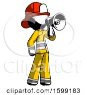 Ink Firefighter Fireman Man Shouting Into Megaphone Bullhorn Facing Right
