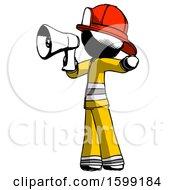 Ink Firefighter Fireman Man Shouting Into Megaphone Bullhorn Facing Left