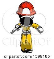Ink Firefighter Fireman Man Looking Down Through Magnifying Glass