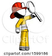 Ink Firefighter Fireman Man Inspecting With Large Magnifying Glass Facing Up