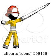 Poster, Art Print Of Ink Firefighter Fireman Man Pen Is Mightier Than The Sword Calligraphy Pose