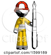 Poster, Art Print Of Ink Firefighter Fireman Man Holding Giant Calligraphy Pen