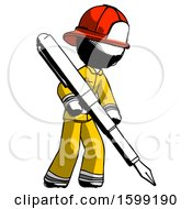 Poster, Art Print Of Ink Firefighter Fireman Man Drawing Or Writing With Large Calligraphy Pen