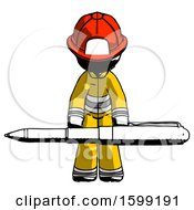 Ink Firefighter Fireman Man Weightlifting A Giant Pen