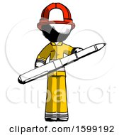Ink Firefighter Fireman Man Posing Confidently With Giant Pen