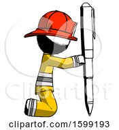 Ink Firefighter Fireman Man Posing With Giant Pen In Powerful Yet Awkward Manner