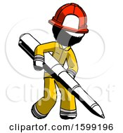 Ink Firefighter Fireman Man Writing With A Really Big Pen