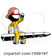 Ink Firefighter Fireman Man Riding A Pen Like A Giant Rocket