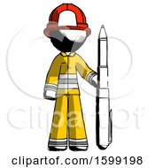 Ink Firefighter Fireman Man Holding Large Pen