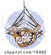 Happy Spider Hanging Down From A Web Clipart Illustration by Andy Nortnik