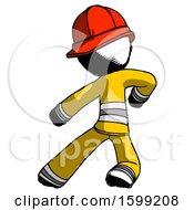 Ink Firefighter Fireman Man Karate Defense Pose Left